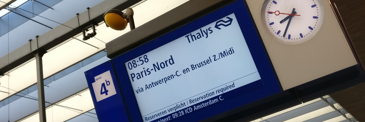 Station sign on Rotterdam Central station