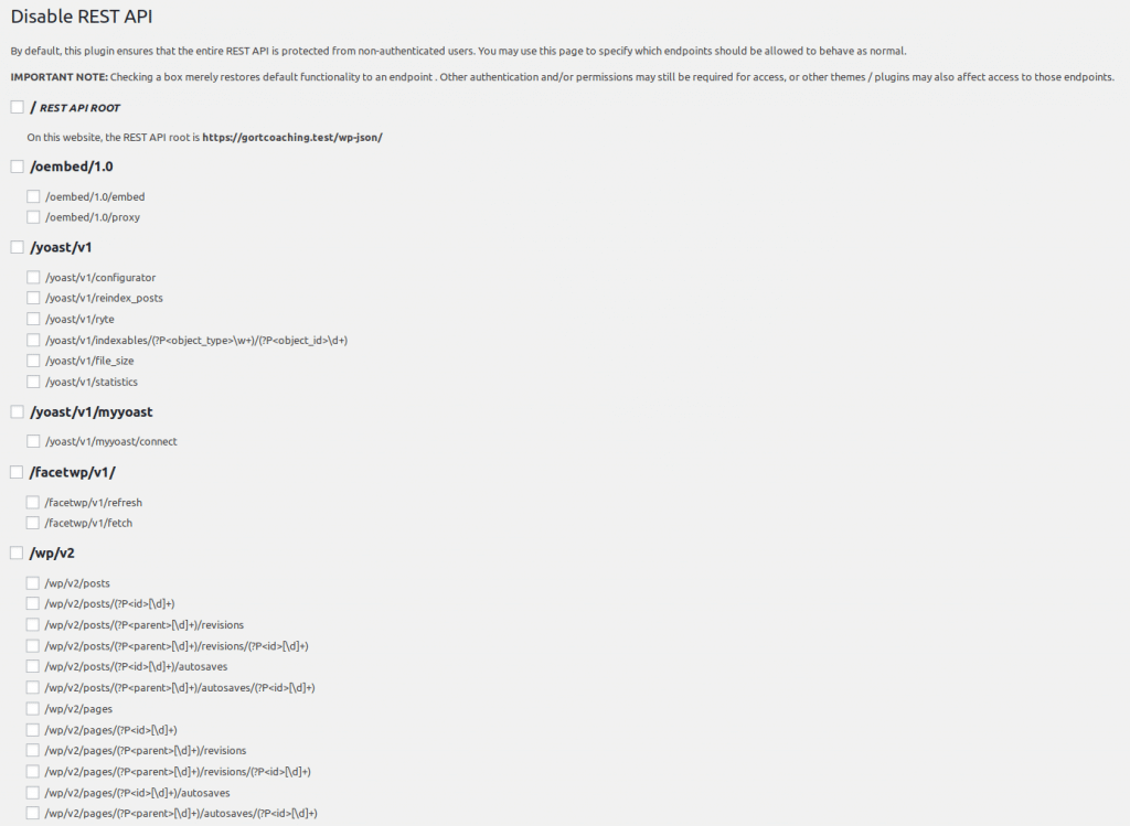 Screenshot of settings for the Disable REST API plugin